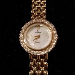 Peugeot Gold Plated Crystal Watch